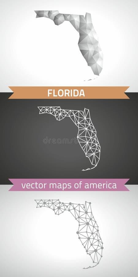Coleção de Florida do mapa moderno dos mapas do projeto do vetor, o cinzento e o preto e o de prata do ponto do esboço do mosaico ilustração do vetor
