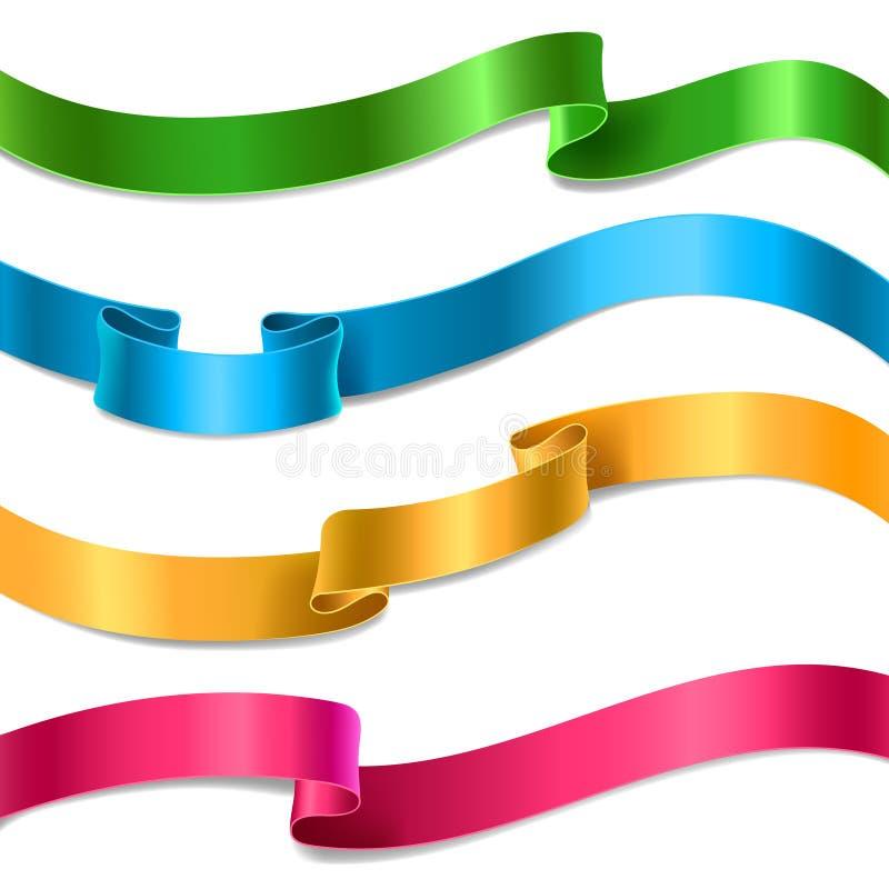 Coleção de fluxo das fitas do cetim ou da seda do vetor ilustração do vetor