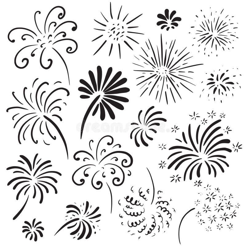 Coleção de fogos de artifício tirados mão Ilustração monocromática do vetor ilustração do vetor