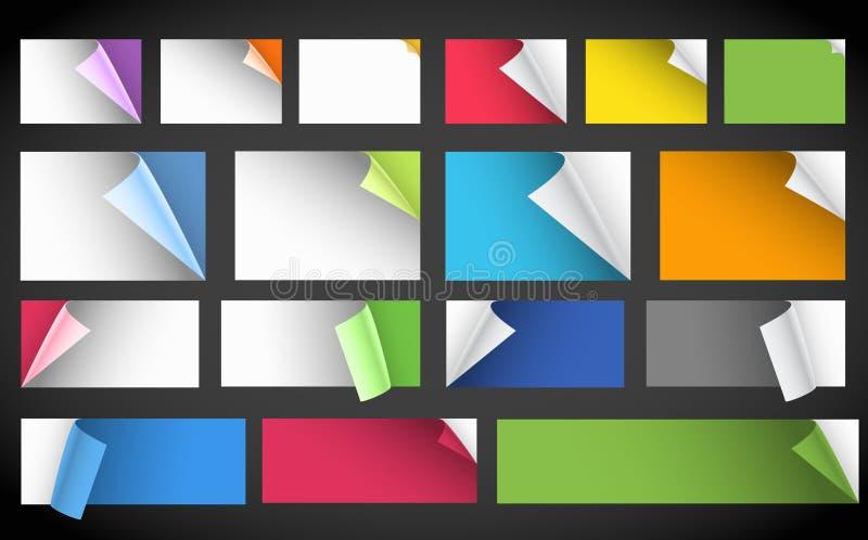 Coleção de folhas do papel em branco da cor ilustração do vetor