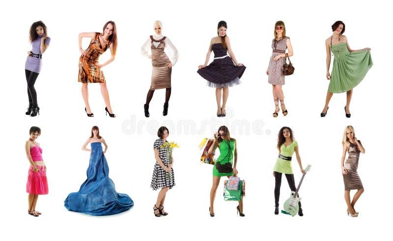 Coleção de fotos bonitas de uma mulher fotos de stock royalty free