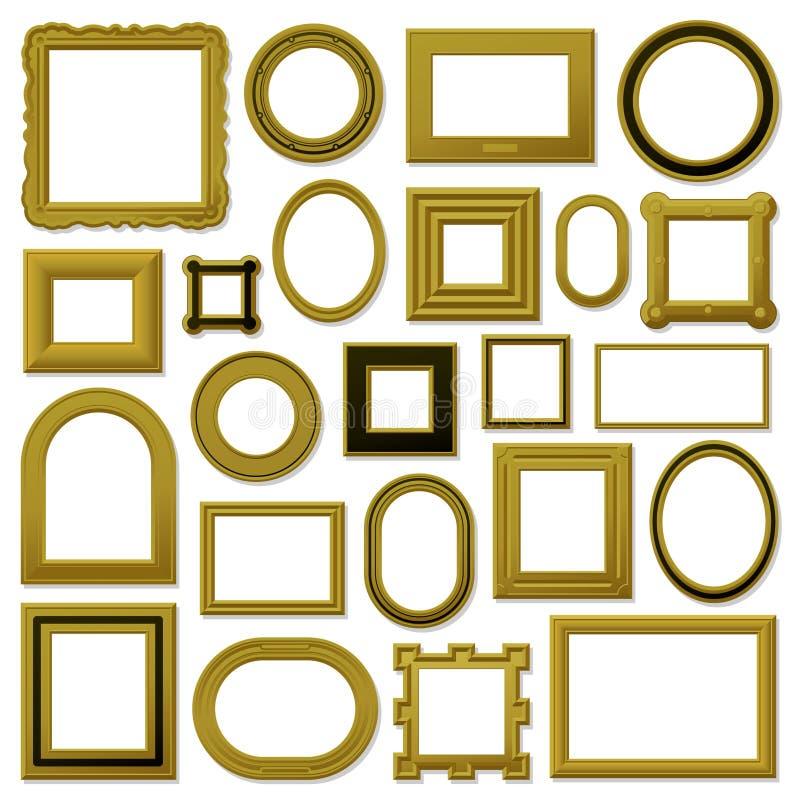 Coleção de frames de retrato dourados do vintage ilustração stock