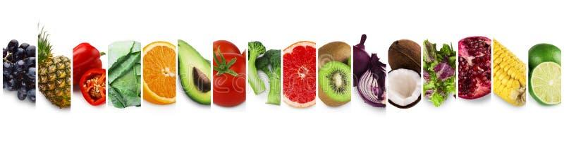 Coleção de frutas e legumes orgânicas, conceito da dieta do vegetariano fotografia de stock