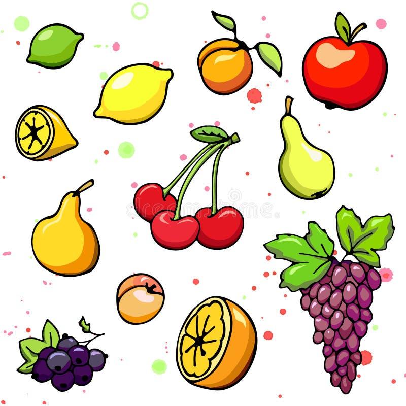 Coleção de frutos e da baga suculentos dos desenhos animados Ilustração do vetor Grupo de ícones coloridos do fruto e da baga Iso ilustração royalty free