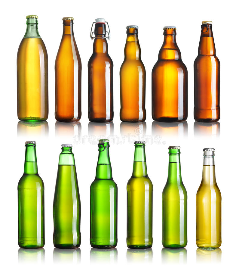 Coleção de garrafas de cerveja imagens de stock
