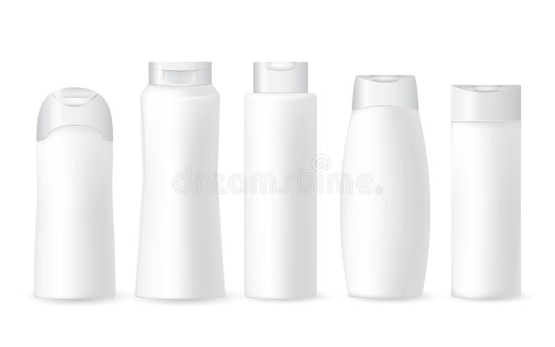 Coleção de garrafas plásticas cosméticas brancas realísticas em um fundo branco Teste padrão cosmético do tipo Produtos de beleza ilustração stock
