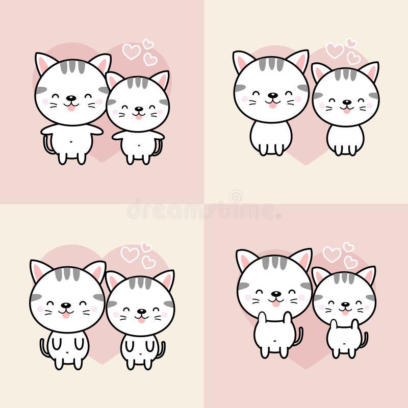 A coleção de gatos bonitos dos desenhos animados dos pares cai no amor Ilustra??o do vetor ilustração do vetor