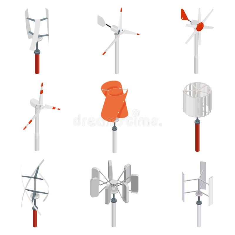 Coleção de geradores de turbina eólica Grupo isométrico da energia limpa ilustração stock