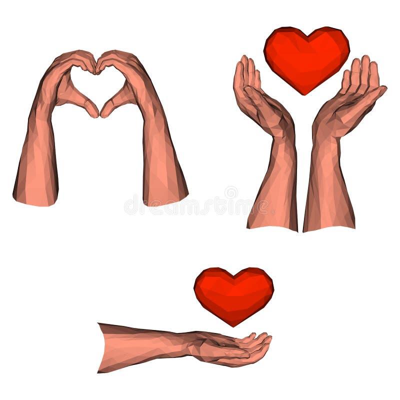 Coleção de gestos isolados do coração pelas baixas mãos polis ilustração do vetor