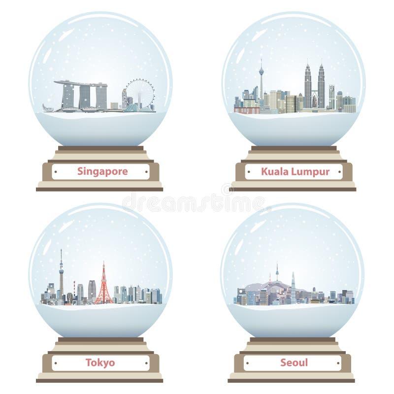 Coleção de globos da neve com skylines da cidade de Singapura, de Kuala Lumpur, do Tóquio e do Seoul ilustração royalty free