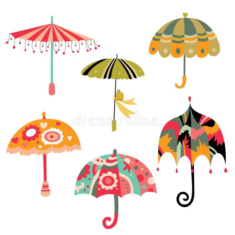 Coleção de guarda-chuvas bonitos ilustração royalty free
