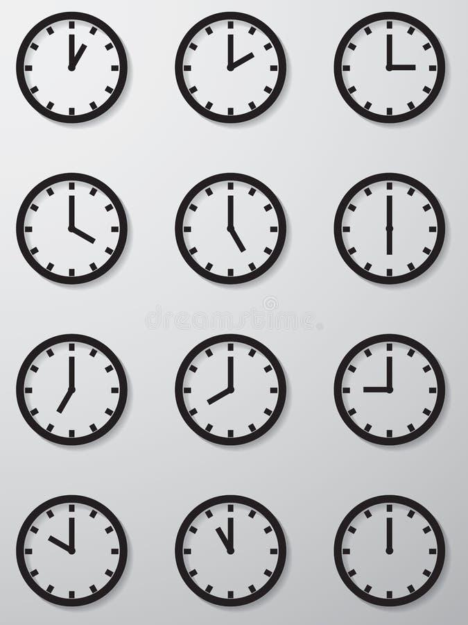 Coleção de 12 horas de ícone da face do relógio. fotografia de stock royalty free