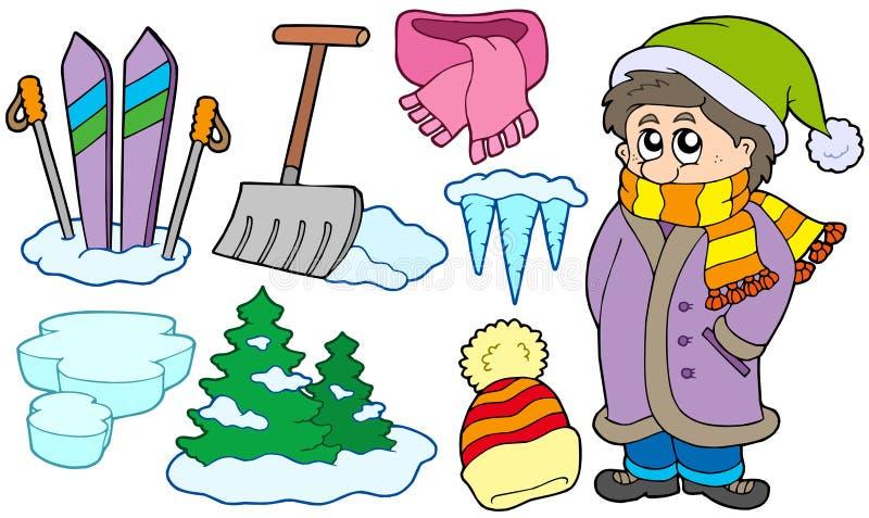 Download Coleção De Imagens Do Inverno Ilustração do Vetor - Ilustração de isolado, chapéu: 12804858