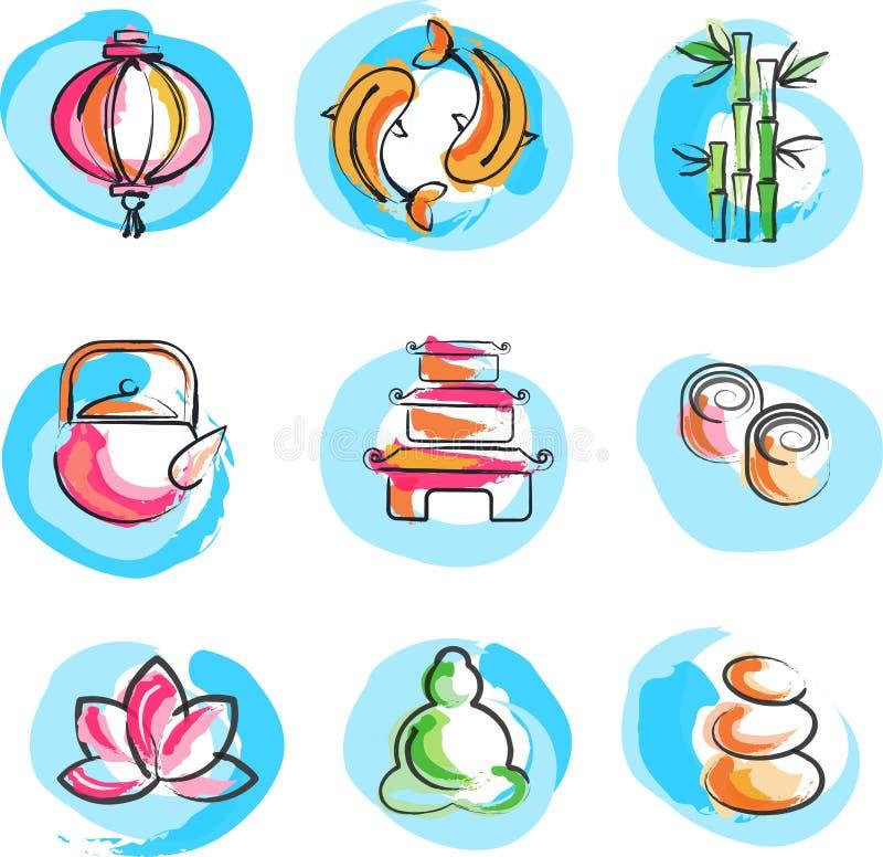 Coleção de imagens do zen ilustração royalty free