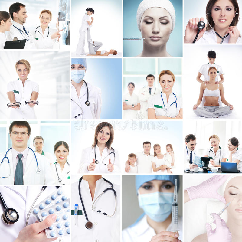 Coleção de imagens médicas com trabalhadores, enfermeiras e internos do hospital foto de stock royalty free