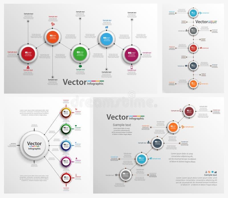 Coleção de infographic colorido ilustração royalty free