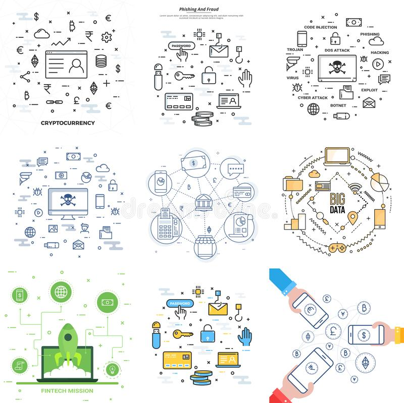 Coleção de Infographic diferente como Cryptocurrency, dados grandes ilustração stock