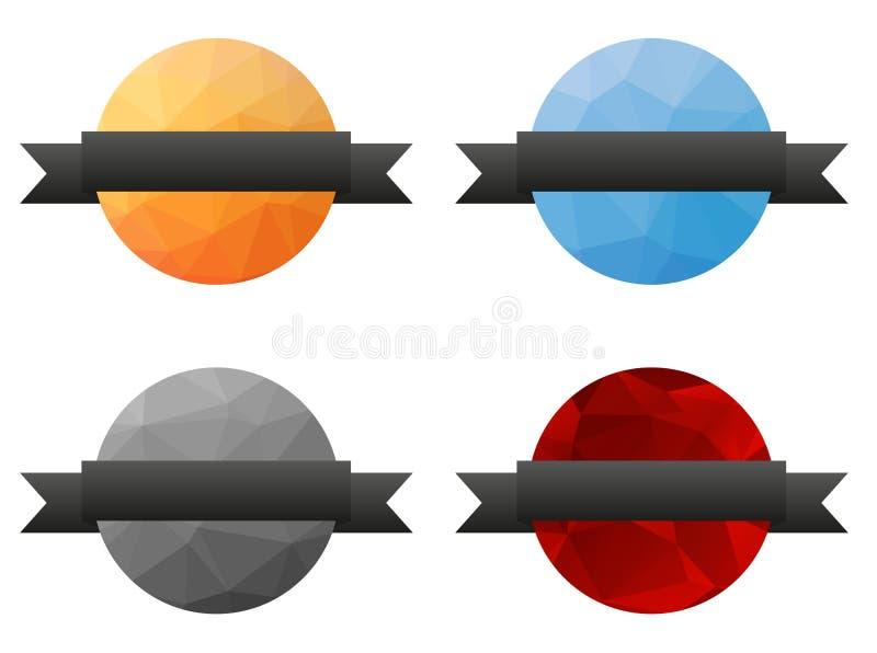 A coleção de 4 isolou baixos crachás poligonais coloridos com cinza ilustração stock