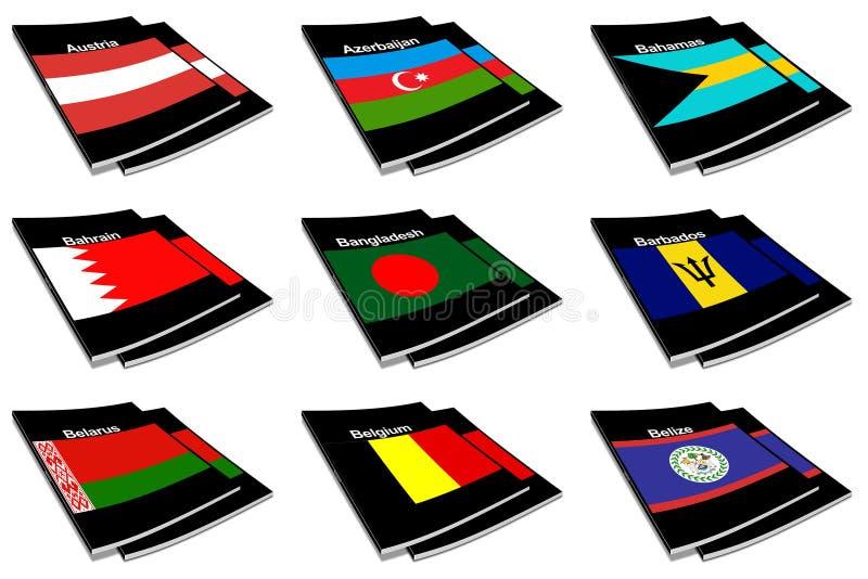 Coleção de livro 03 da bandeira do mundo ilustração royalty free