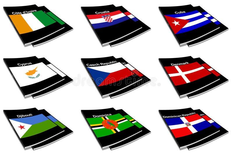 Coleção de livro 08 da bandeira do mundo ilustração royalty free