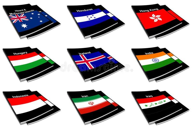 Coleção de livro 13 da bandeira do mundo ilustração stock