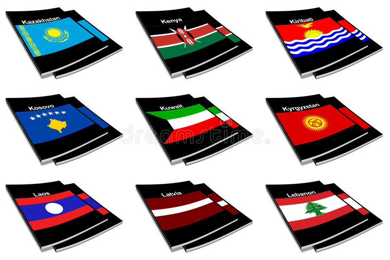 Coleção de livro 15 da bandeira do mundo ilustração stock