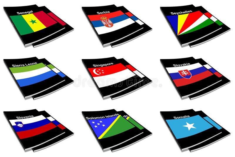 Coleção de livro 25 da bandeira do mundo ilustração stock