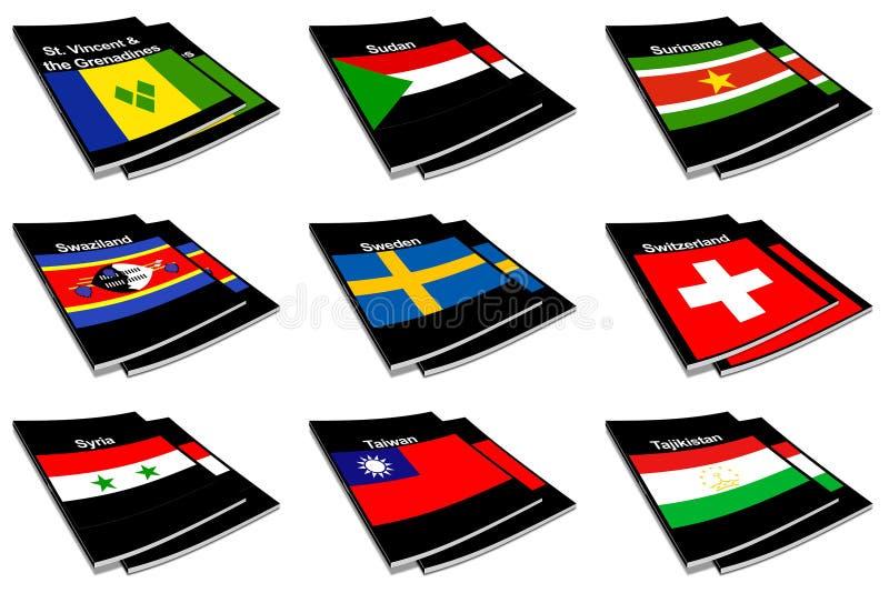 Coleção de livro 27 da bandeira do mundo ilustração stock