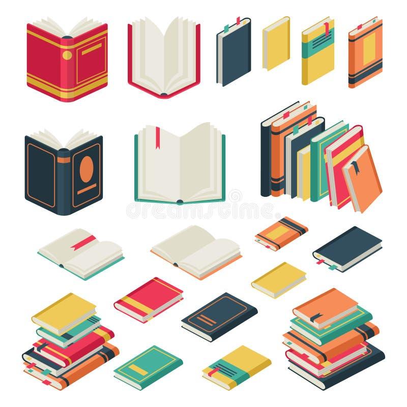 Coleção de livro isométrica Livros abertos e fechados ajustados para o vetor de publicação do compartimento do livro de texto do  ilustração royalty free