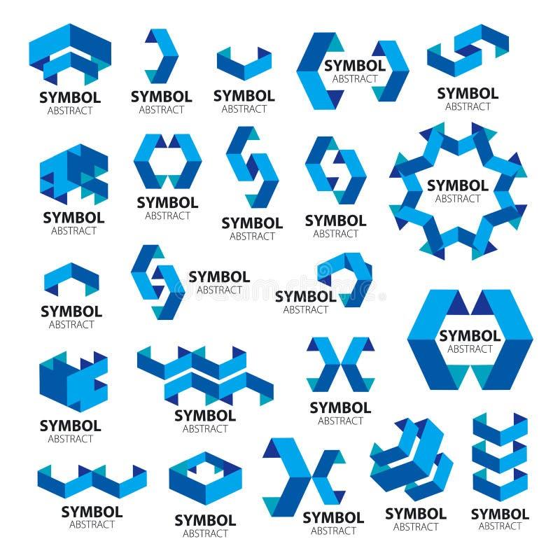 Coleção de logotipos do vetor dos módulos geométricos ilustração stock