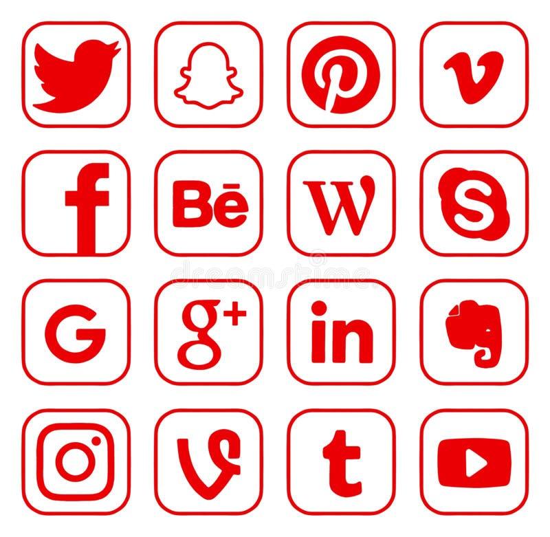 Coleção de logotipos sociais populares dos meios ilustração royalty free