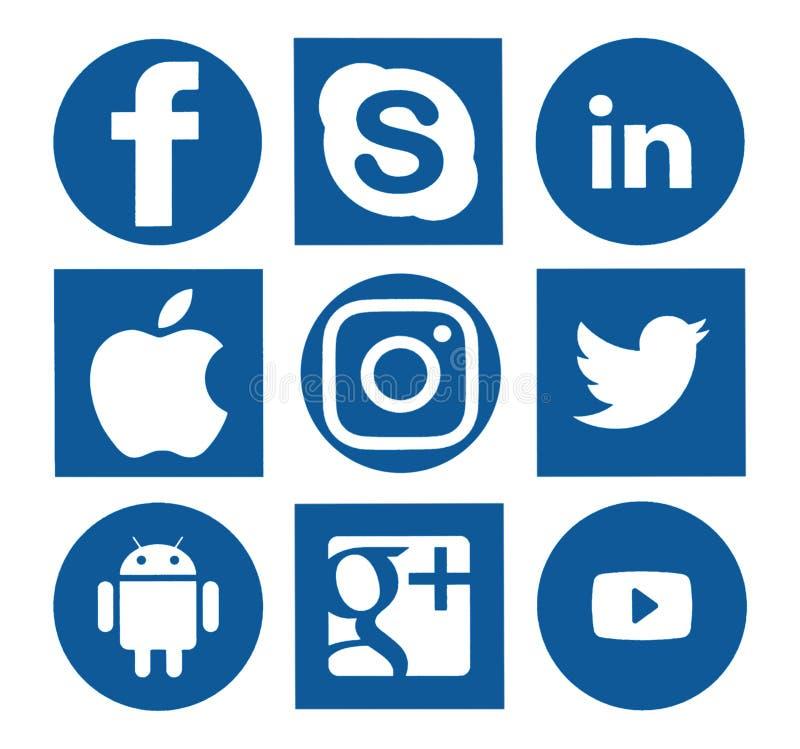 Coleção de logotipos sociais populares dos meios ilustração do vetor