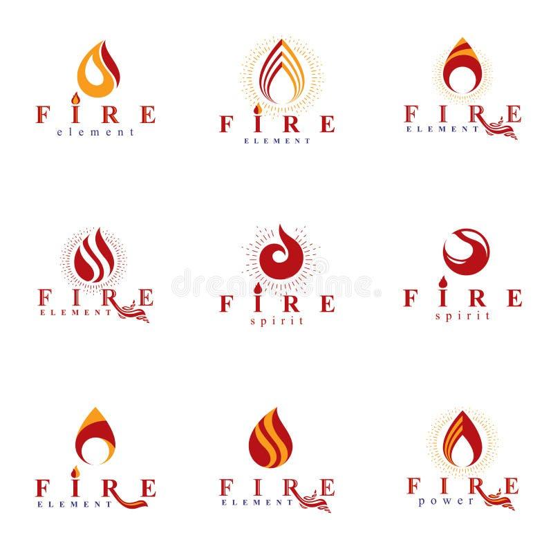 Coleção de logotypes alaranjados quentes do vetor do fogo, elemento da natureza ilustração royalty free