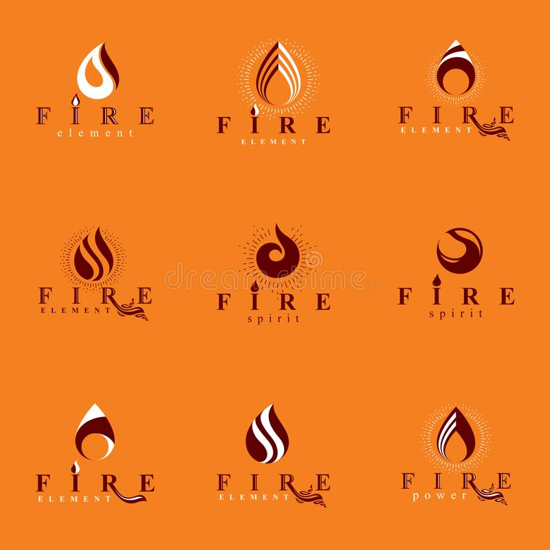Coleção de logotypes alaranjados quentes do vetor do fogo, elemento da natureza ilustração do vetor