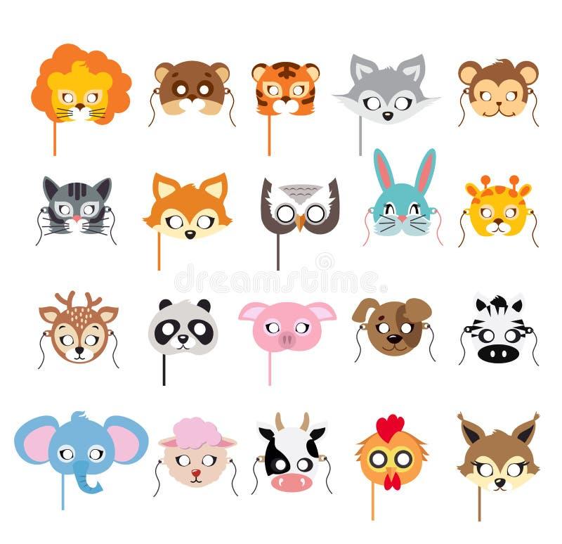 Coleção de máscaras animais diferentes nas caras ilustração stock