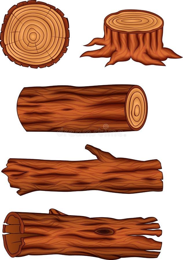 Coleção de madeira do log ilustração stock