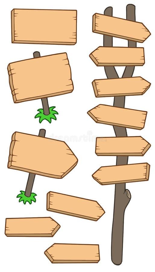 Coleção de madeira dos roadsigns ilustração do vetor