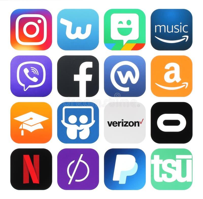 Coleção de meios sociais populares, negócio, logotipos da foto ilustração royalty free