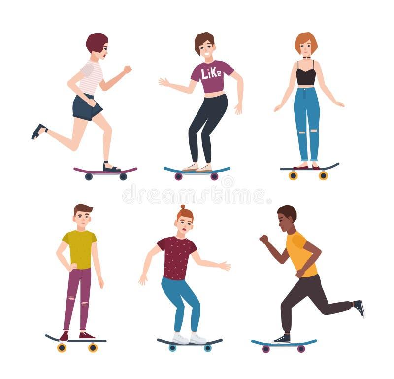 Coleção de meninos modernos e das meninas adolescentes do skater que montam skates Grupo de adolescentes novos que skateboarding  ilustração royalty free