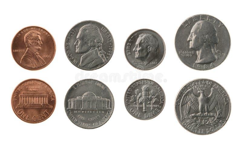 Coleção de moedas dos E.U. isolada no branco