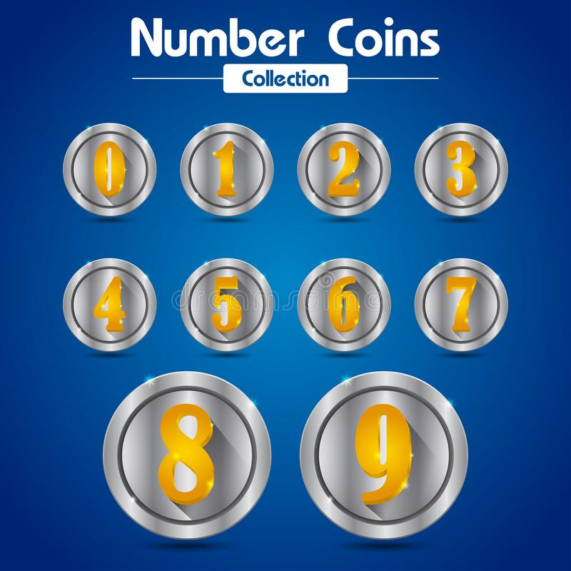 Coleção de moedas de prata do número e número do ouro ilustração do vetor