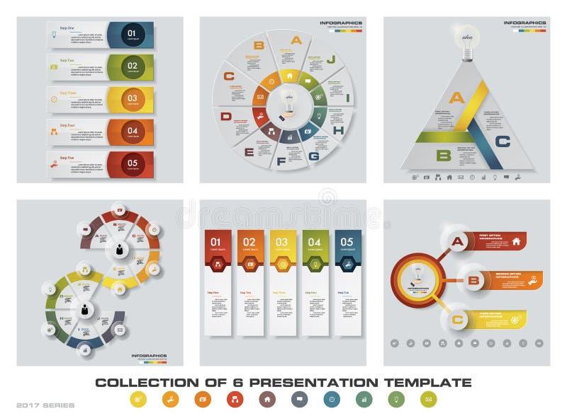 Coleção de 6 moldes coloridos da apresentação do projeto EPS10 Grupo de ícones do vetor e do negócio do projeto do infographics ilustração stock