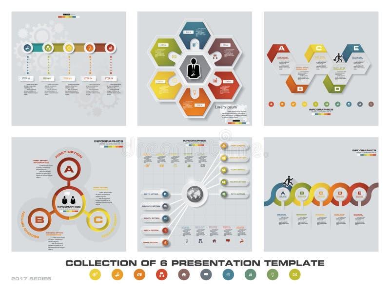 Coleção de 6 moldes coloridos da apresentação do projeto EPS10 Grupo de ícones do vetor e do negócio do projeto do infographics ilustração royalty free