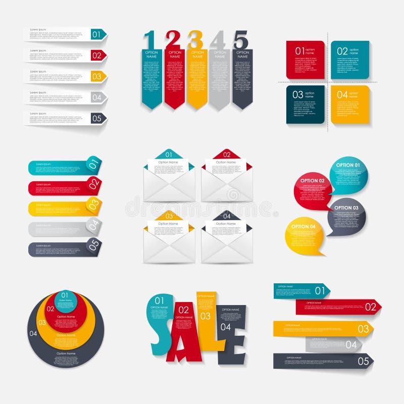 Coleção de moldes de Infographic para o negócio ilustração royalty free