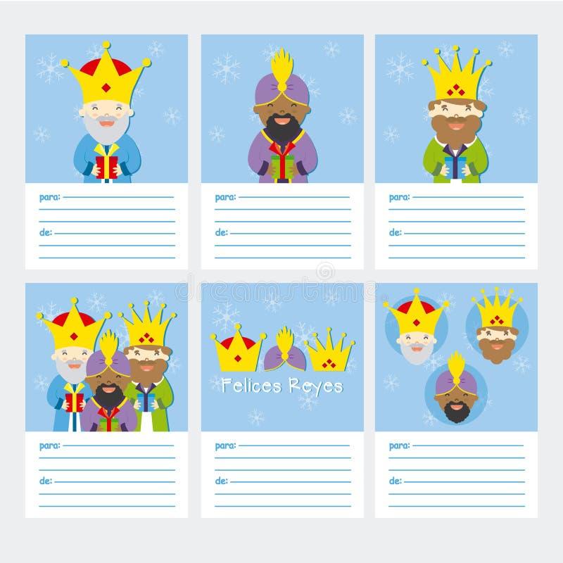 Coleção de 6 moldes do cartão de Natal ilustração royalty free