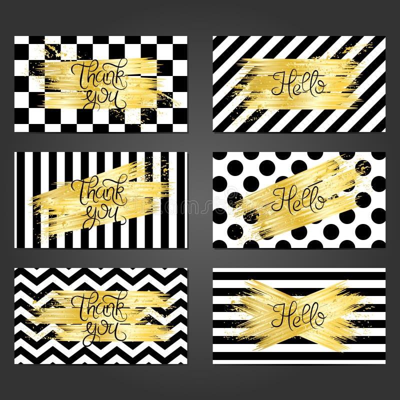 Coleção de 6 moldes do cartão do vintage na cor preto e branco ilustração do vetor