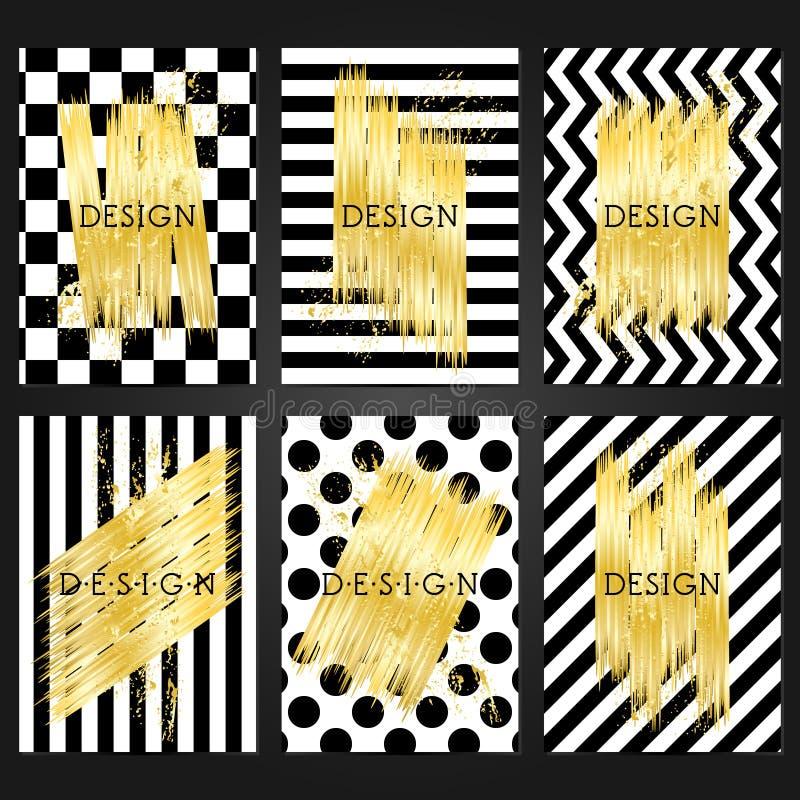 Coleção de 6 moldes do cartão do vintage na cor preto e branco ilustração royalty free