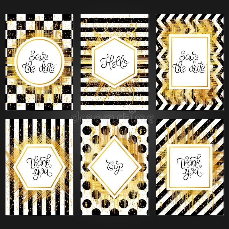 Coleção de 6 moldes do cartão do vintage na cor preto e branco ilustração stock