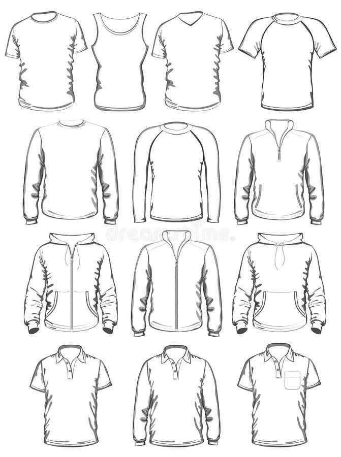 Coleção de moldes do esboço da roupa dos homens