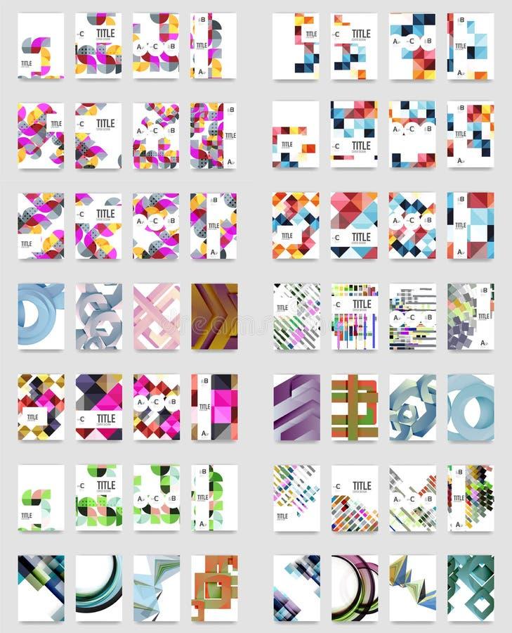 Coleção de moldes do folheto do informe anual do negócio, tampas do tamanho A4 criadas com os testes padrões modernos geométricos ilustração royalty free
